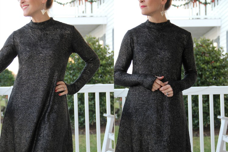 Mock Turtleneck Swing Dress
