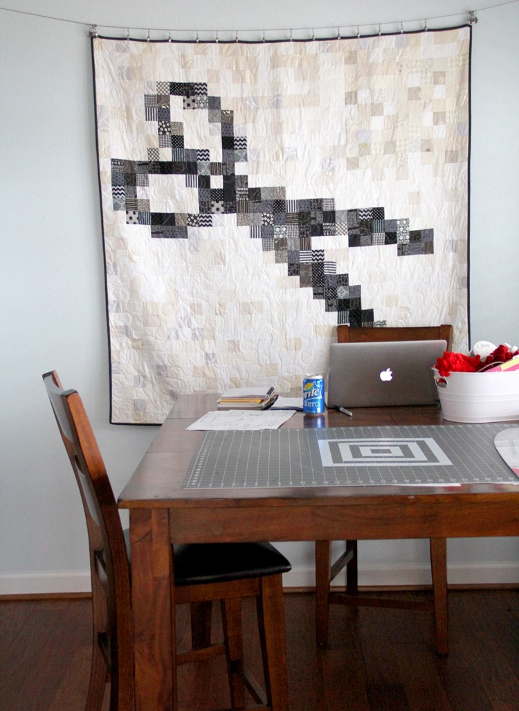 hang quilts with curtain wire