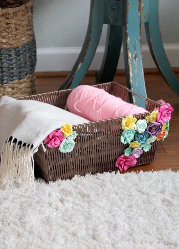 flower embellished basket DIY