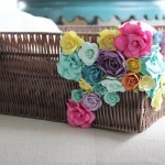 add flowers to your wicker basket for a new look for your Spring home decor!