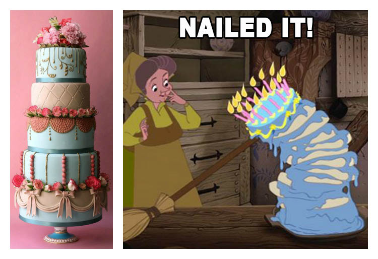 the fairy godmothers were the original Pinterest Fails. NAILED IT.