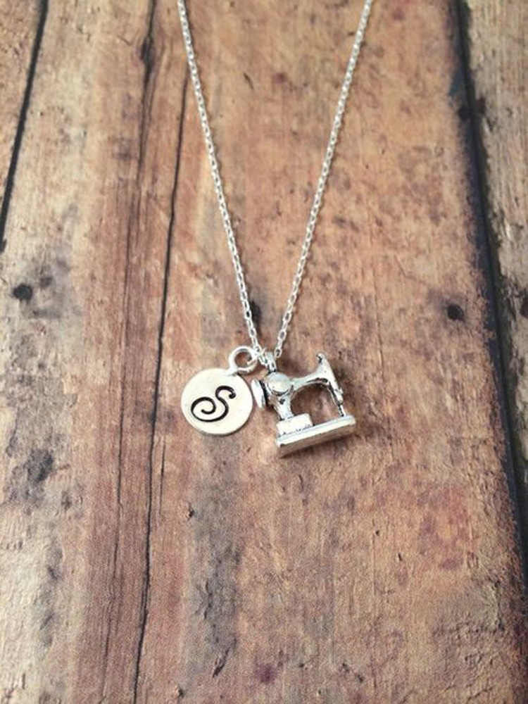 personalized sewing machine necklace