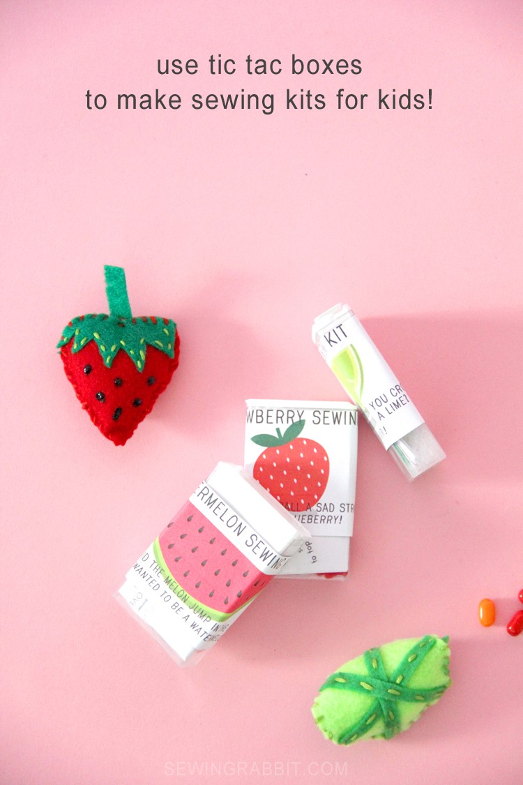 turn old tic tac boxes into a cute sewing kit, with free felt fruit pattern!