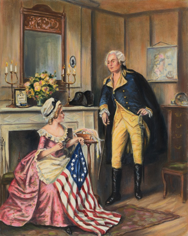 ca. 1800s --- George Washington watching Betsy Ross sew the flag. --- Image by © Bettmann/CORBIS