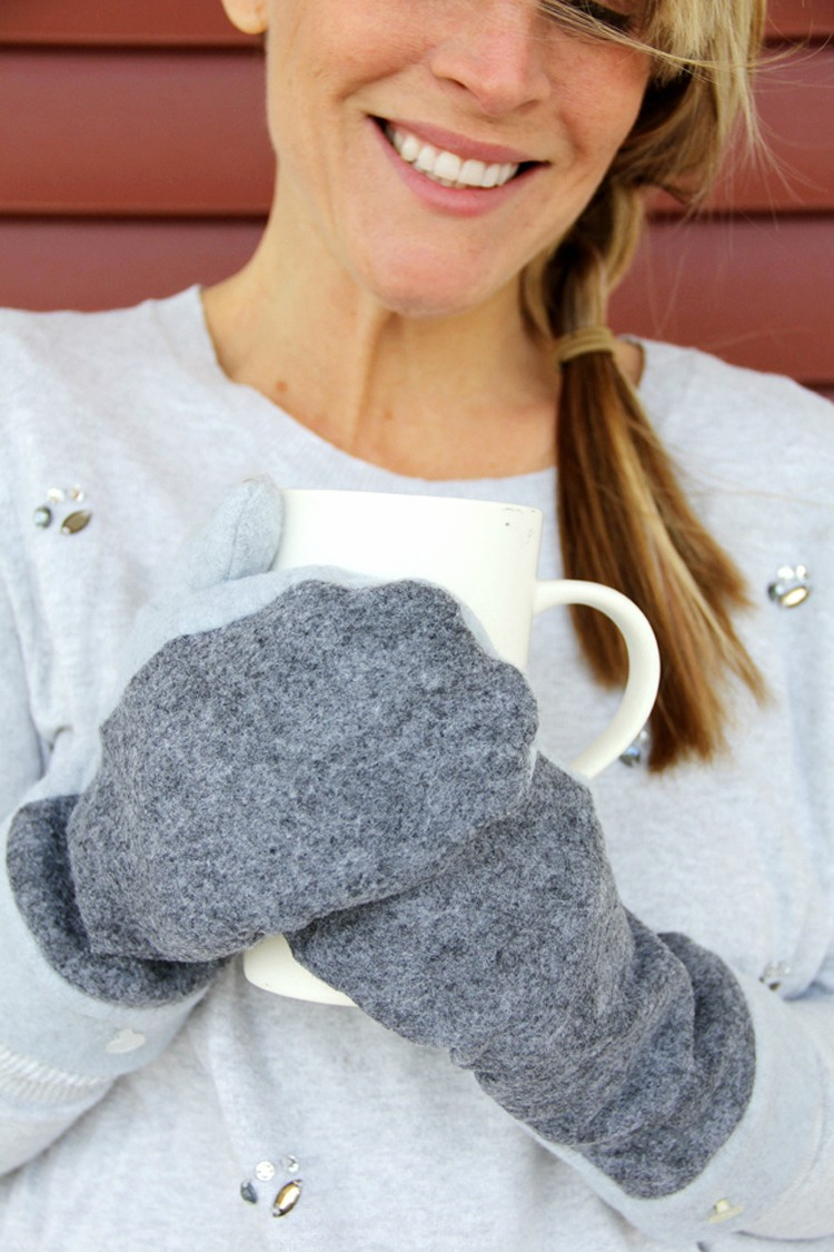 how to sew wool mittens ||  wool and fleece mittens DIY