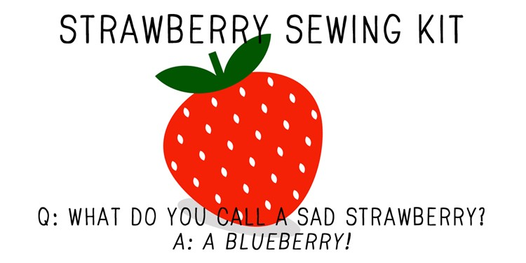 strawberry sewing kit label