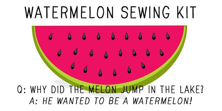 watermelon sewing kit label