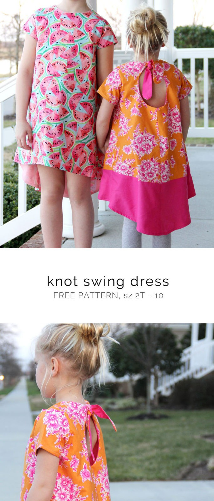 Knot Swing Dress Pattern {free pattern} || Easy summer kids dress to sew for sizes 2T thru 10
