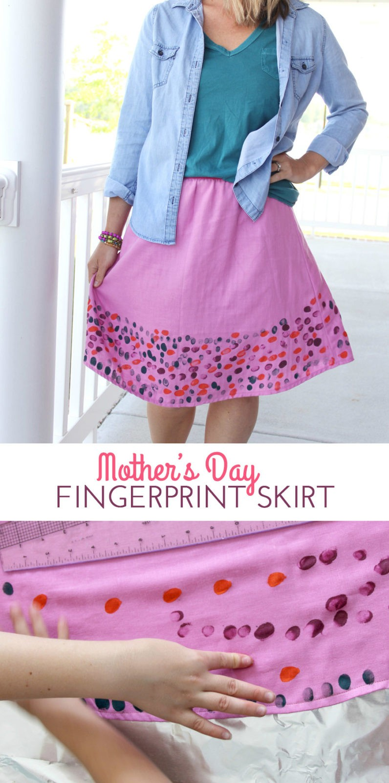 Make Mom a fingerprint skirt this Mother's Day!