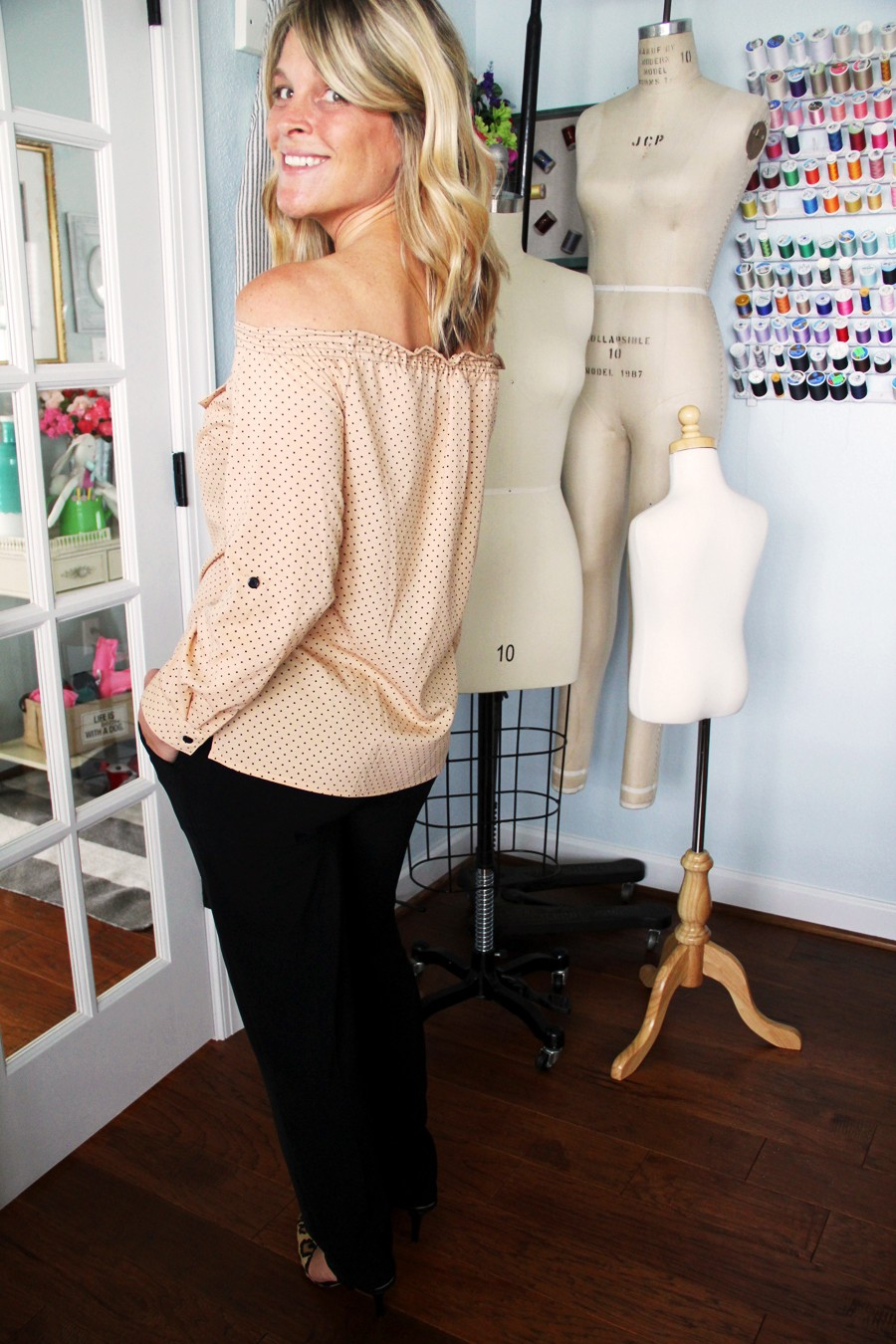 turn a button up shirt into a cute off-the-shoulder shirred shirt with this easy sewing video DIY