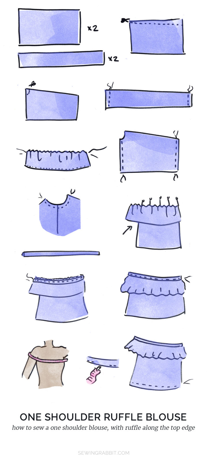 how to sew one shoulder ruffle blouse