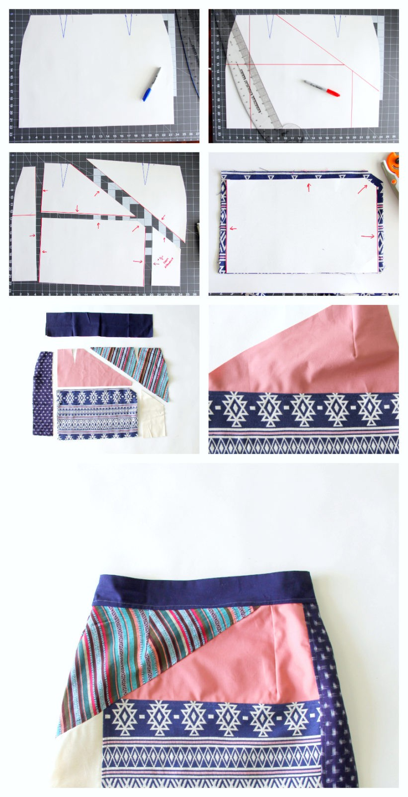 How to alter a skirt sloper to make a patchwork skirt pattern