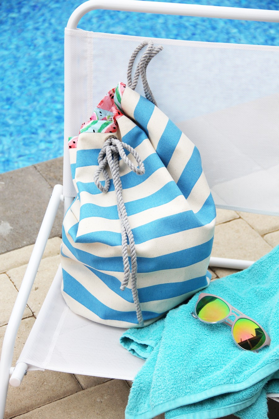 how to make a drawstring beach bag, with cotton pull rope - free pattern!