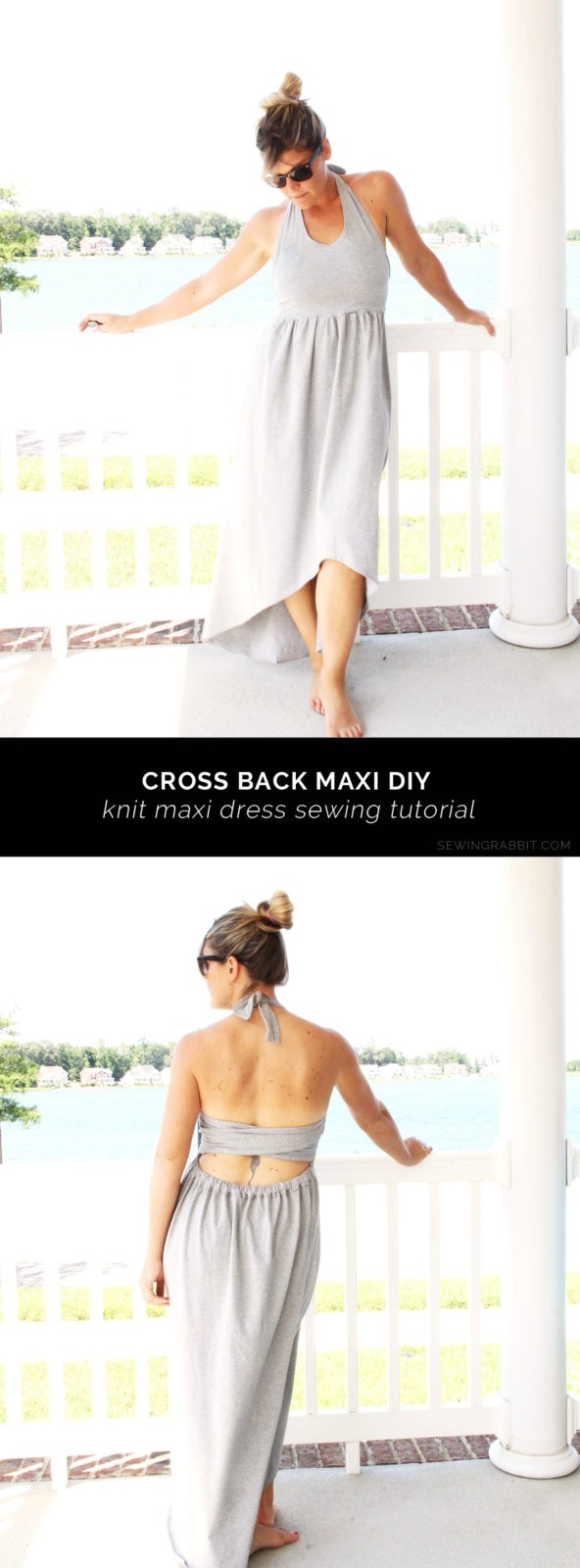 Simple knit maxi dress DIY, with a cross back feature - Cross Back Maxi dress DIY