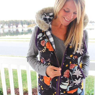 Quilted Floral Vest with Fur Trim