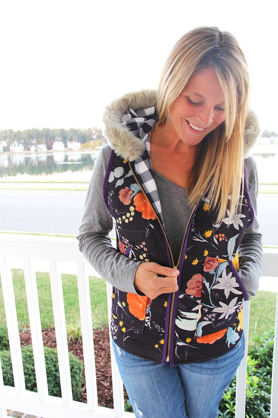 Make this Look: quilted floral fur trim hooded vest