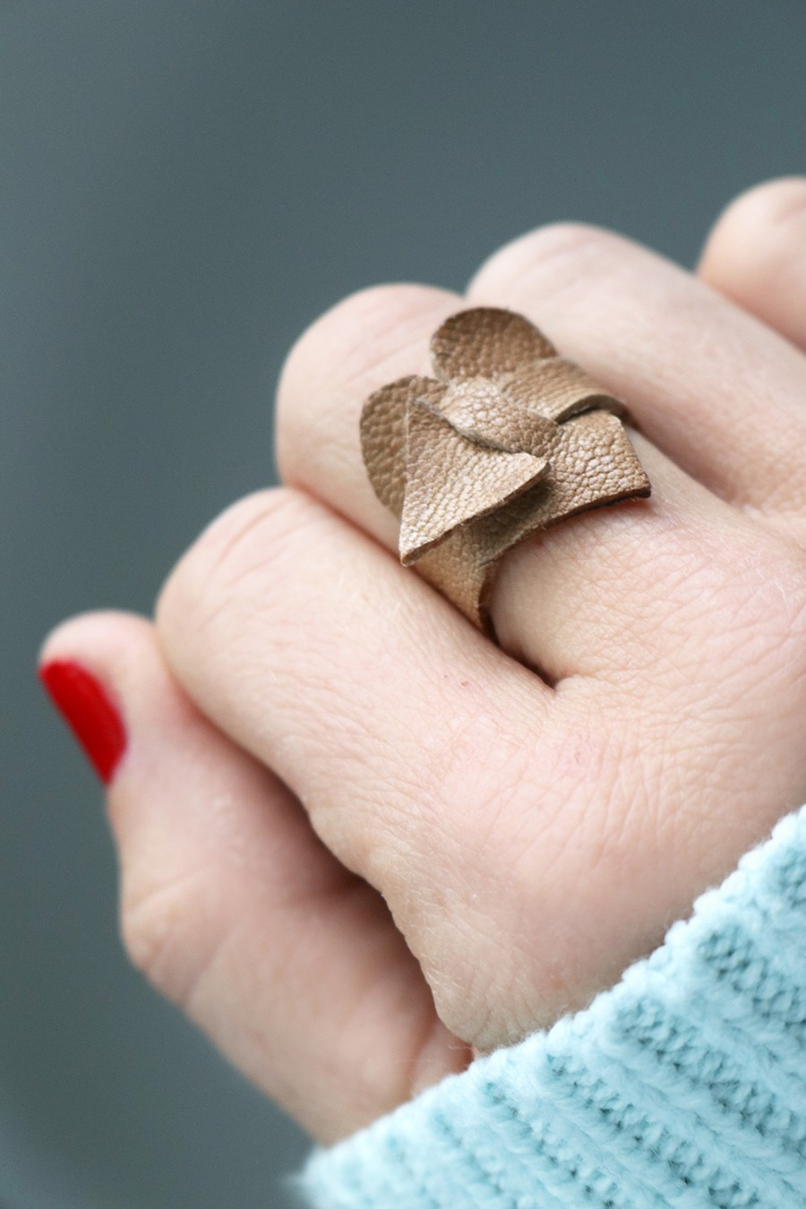 Got leather scraps? Make a cute heart ring!