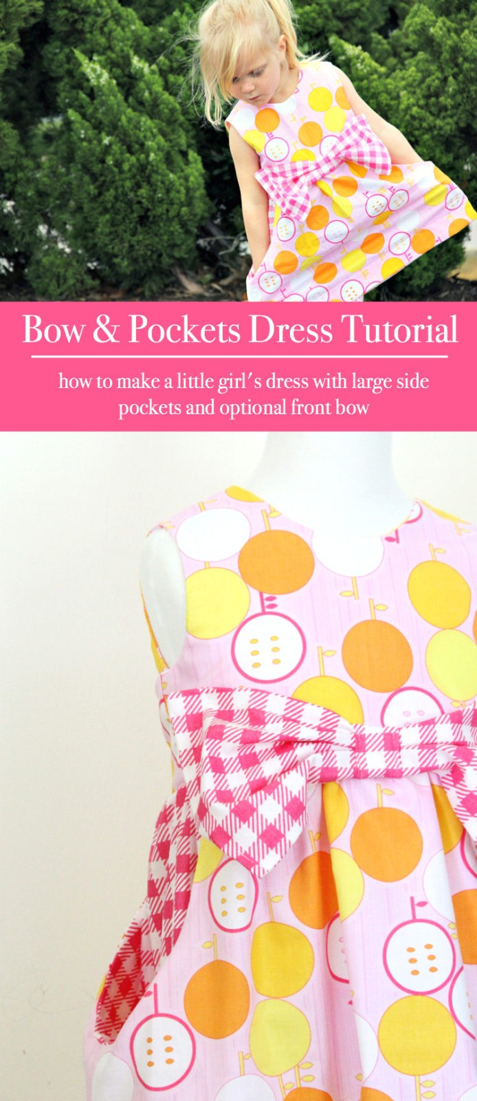 How to make a little girl's dress with side pockets and  optional large bow