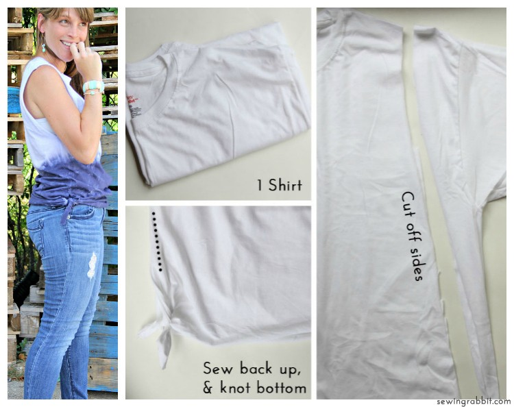 Look No 10 - Knot Sides with RIT Dye - 10 Ways to Transform a White Tee -  #sewing   ||  www.sewingrabbit.com