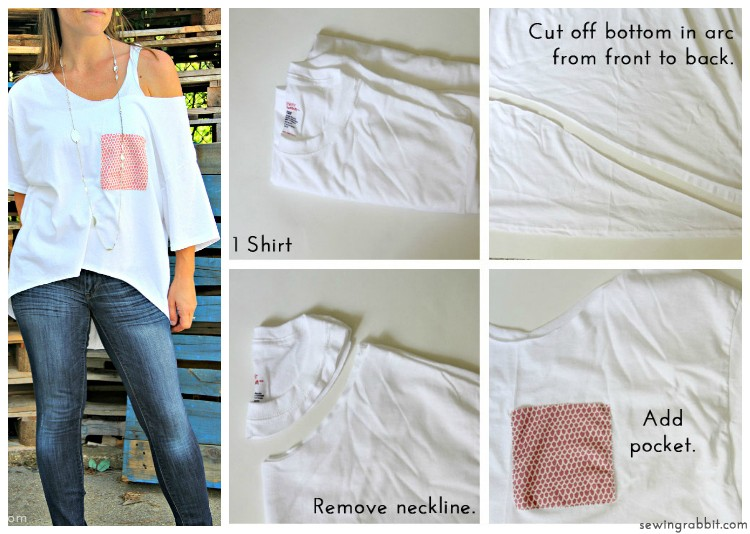 Look No 6 - High-Low Dolman with Pocket - 10 Ways to Transform a White Tee -  #sewing   ||  www.sewingrabbit.com