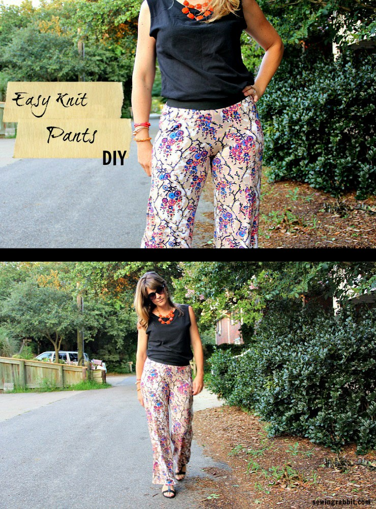 how to sew an Easy Womens Knit Pants DIY