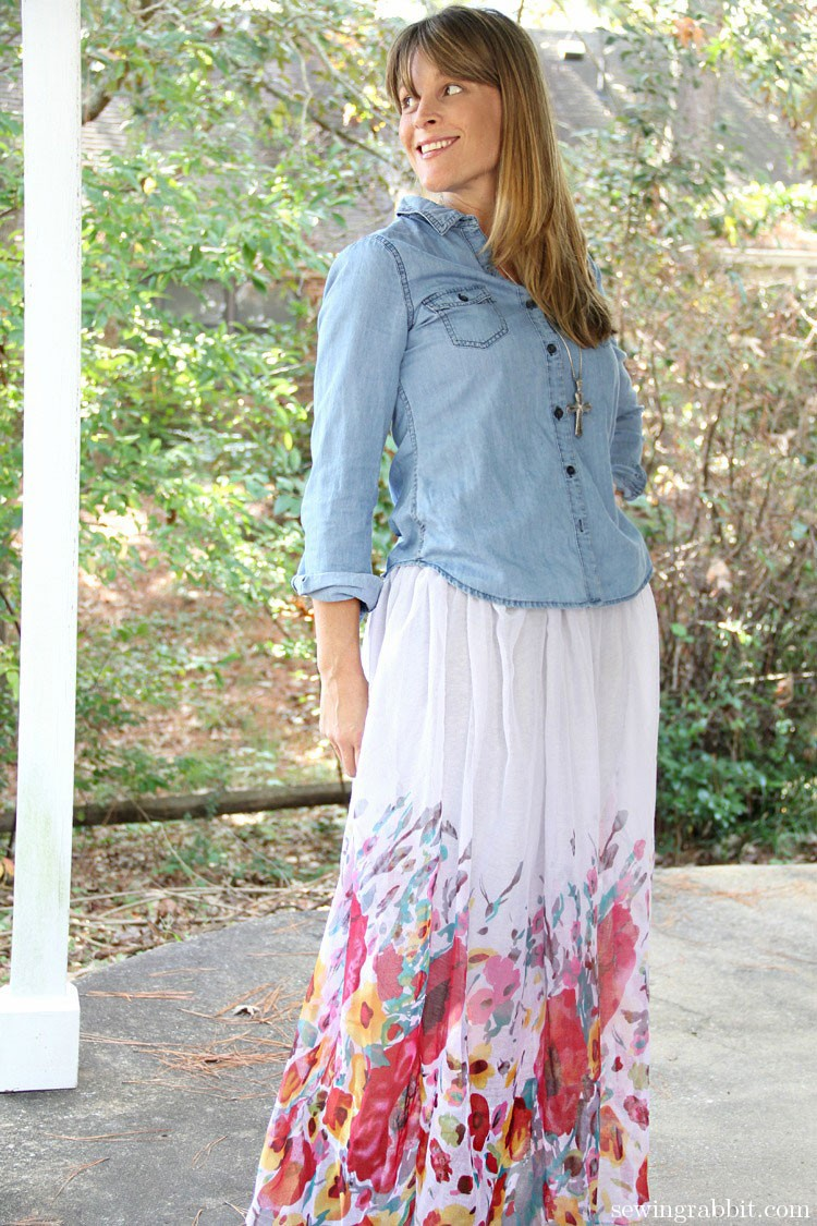 Scarf upcycled into Maxi Skirt - 10 Things to do with a Scarf