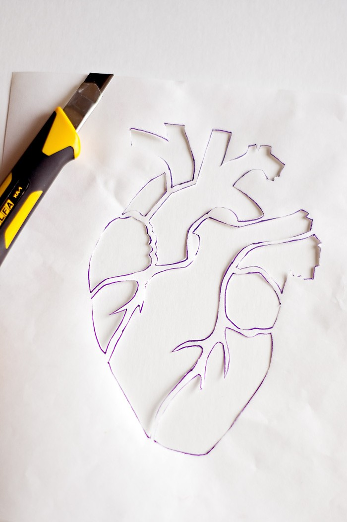 Make a modern anatomical heart with this template for your T-Shirts this Valentines Day!  Free embroidery or freezer paper stencil print out.