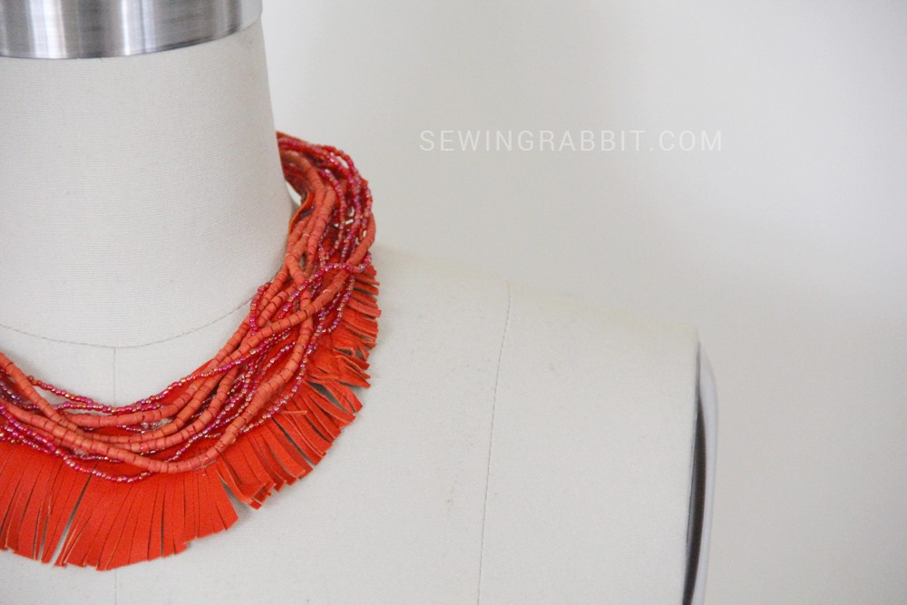 How to make a leather and bead fringe necklace, easy jewelry DIY
