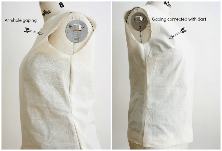 How to Add a Side Dart to fix your Shirt Pattern Fit.  #sewing