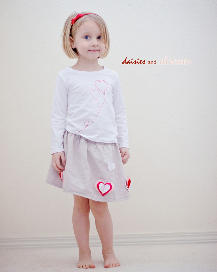 How to Embellish any skirt with felt hearts - easy sewing tutorial