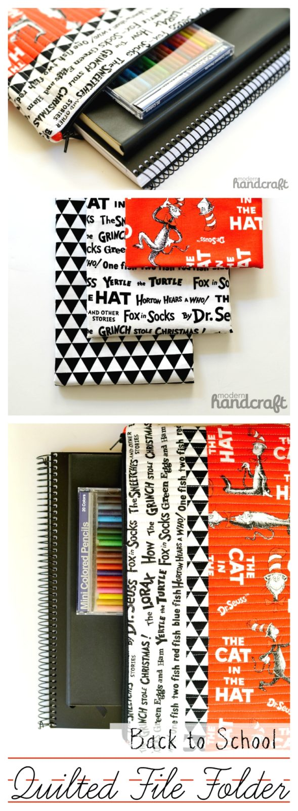 Back to school quilted file folder DIY  ||  Dr. Seuss inspired