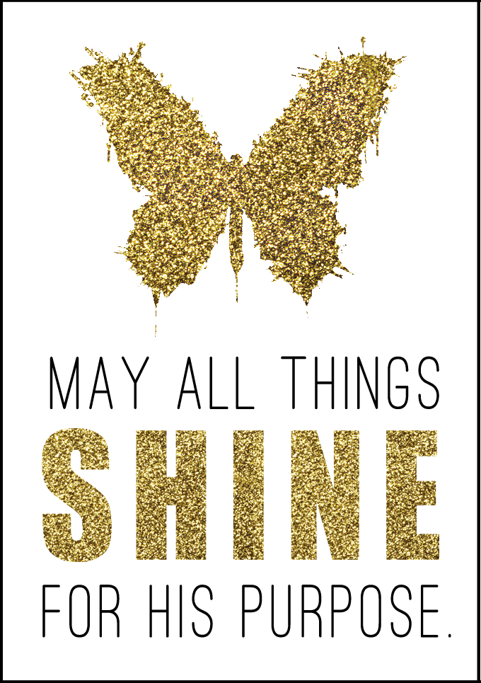 May all things SHINE for HIS purpose.