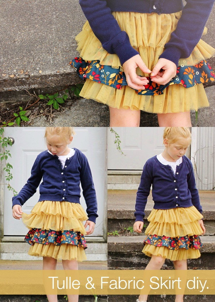 fabric and tulle skirt DIY