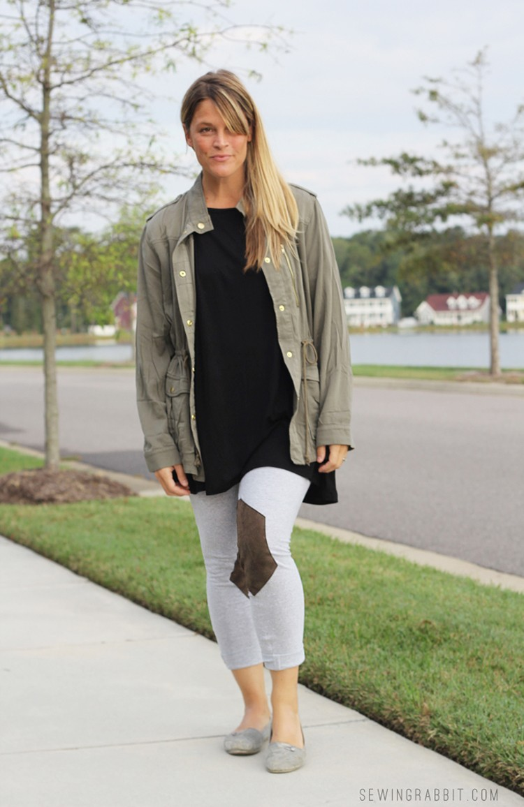 Leggings with Leather Insert DIY