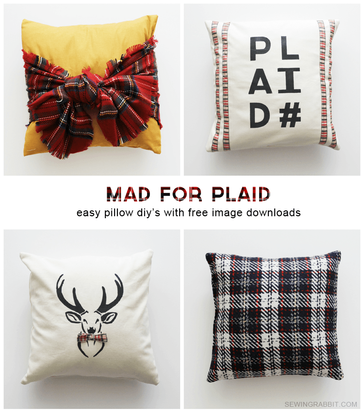 Mad for Plaid - pillow DIYs with free deer & plaid# templates