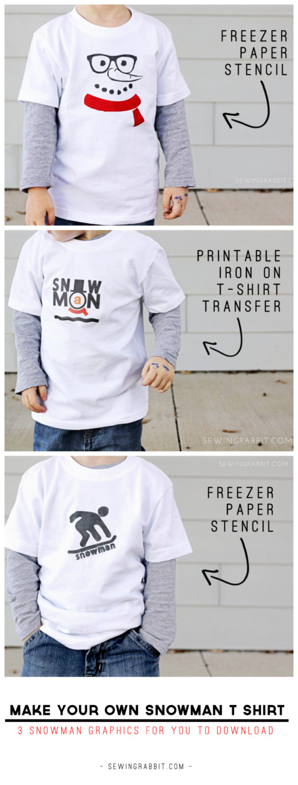Make your own Snowman TShirts The Sewing Rabbit