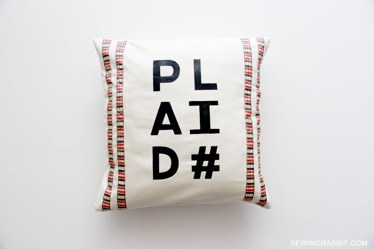 plaid# Pillow, with free template download and DIY instructions