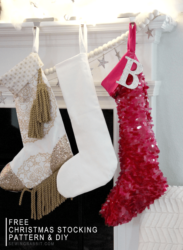 Add a little BLING to your Christmas Mantle - Easy Sequin Stocking with Free Pattern