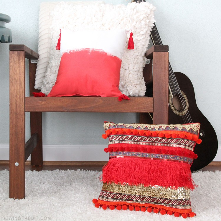Painted Bohemian Tassel Pillow DIY