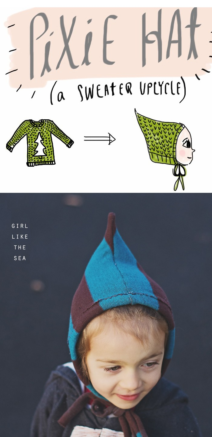 turn an upcycled sweater into a pixie hat with this easy DIY  ||  perfect pixie hat DIY