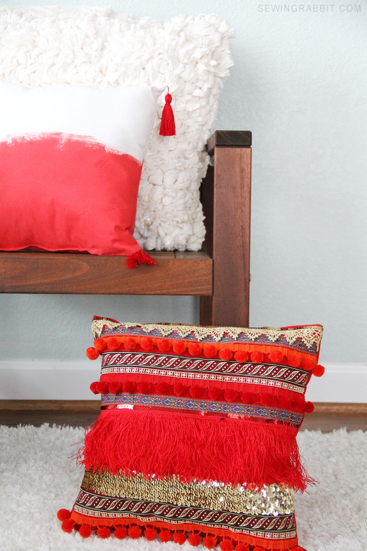 Beginner Friendly: Bohemian Inspired Ribbon Pillow DIY