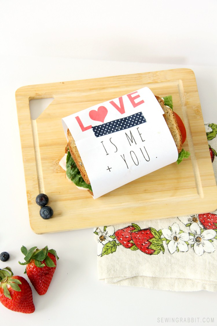 PRINT THIS: Love is Me + You Sandwich Wrapper. An easy way to give them a love note in their lunch!