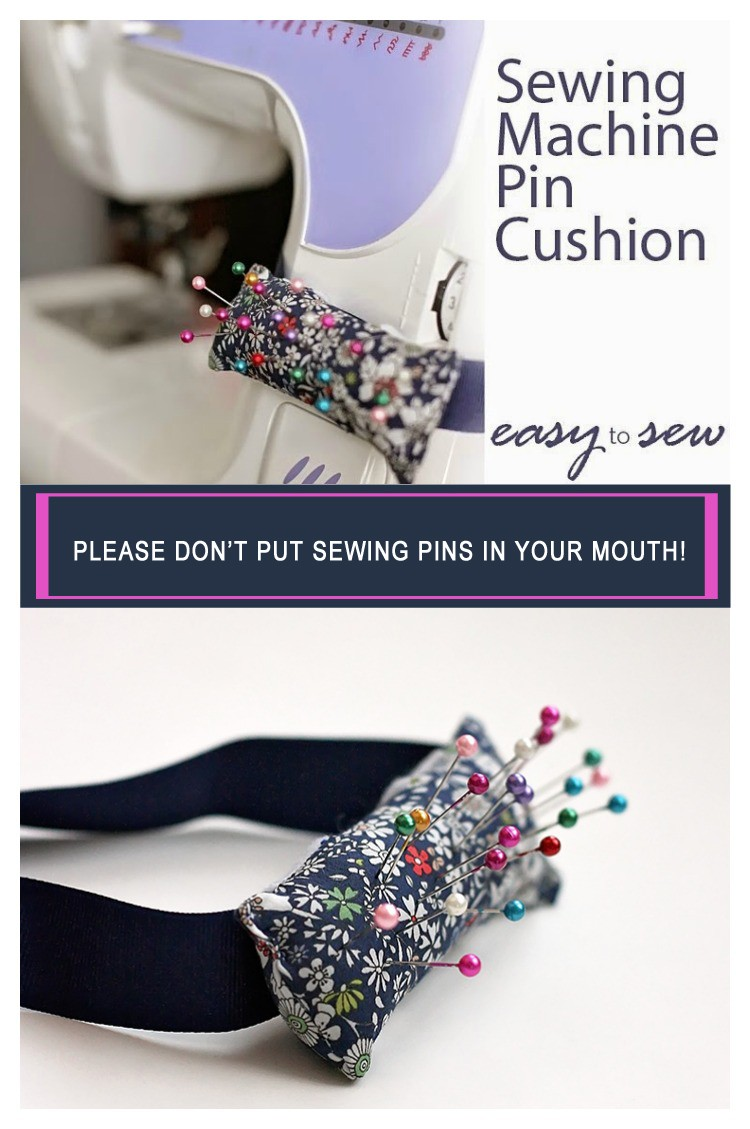 Sewing machine Pin Cushion - saving us from putting pins in our mouth!
