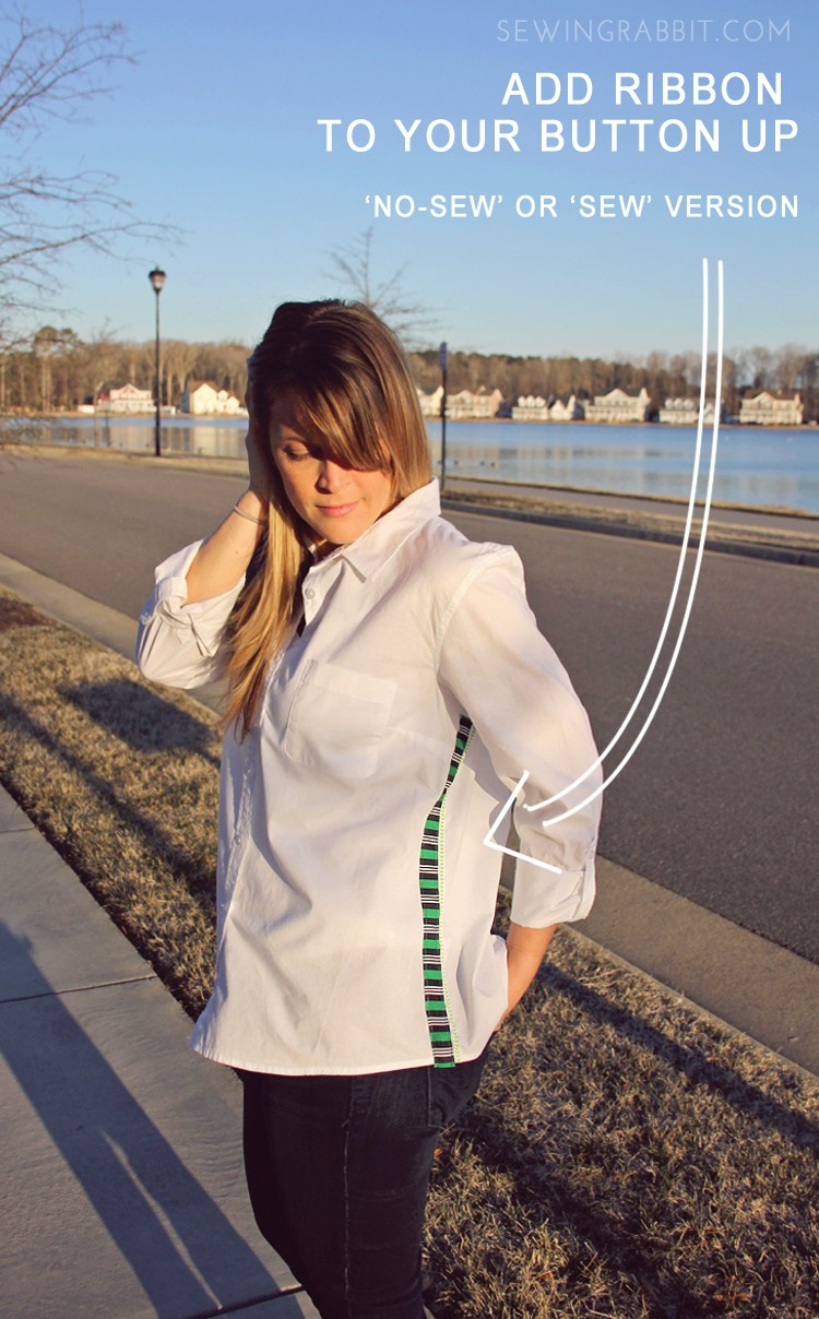 Ribbon Embellished Button Up Shirt DIY - 'Sew' or 'No-Sew' Version