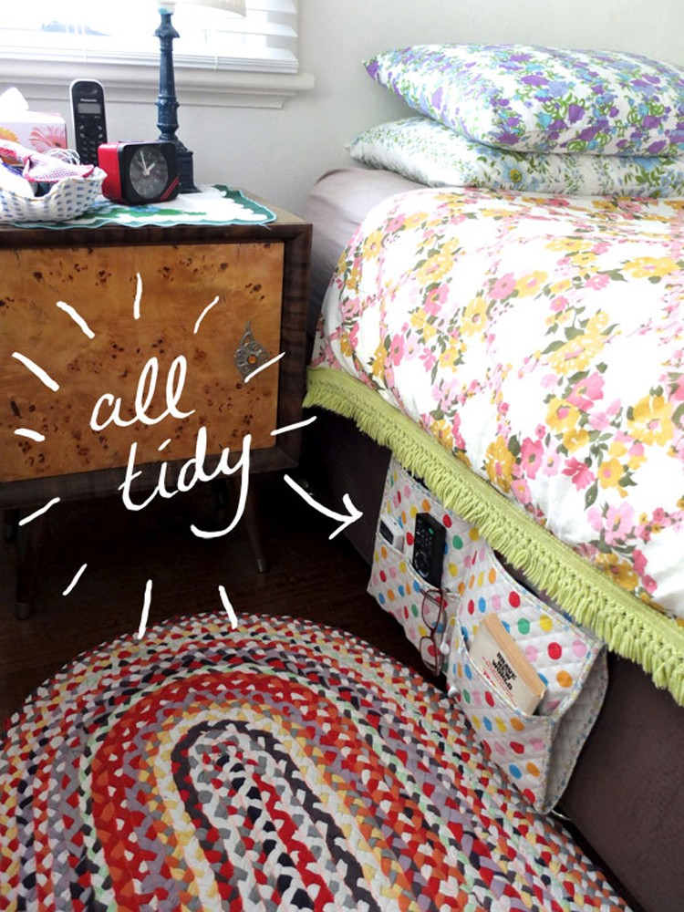 5 Ways to upcycle old baby blankets - turn them into a bed caddy!