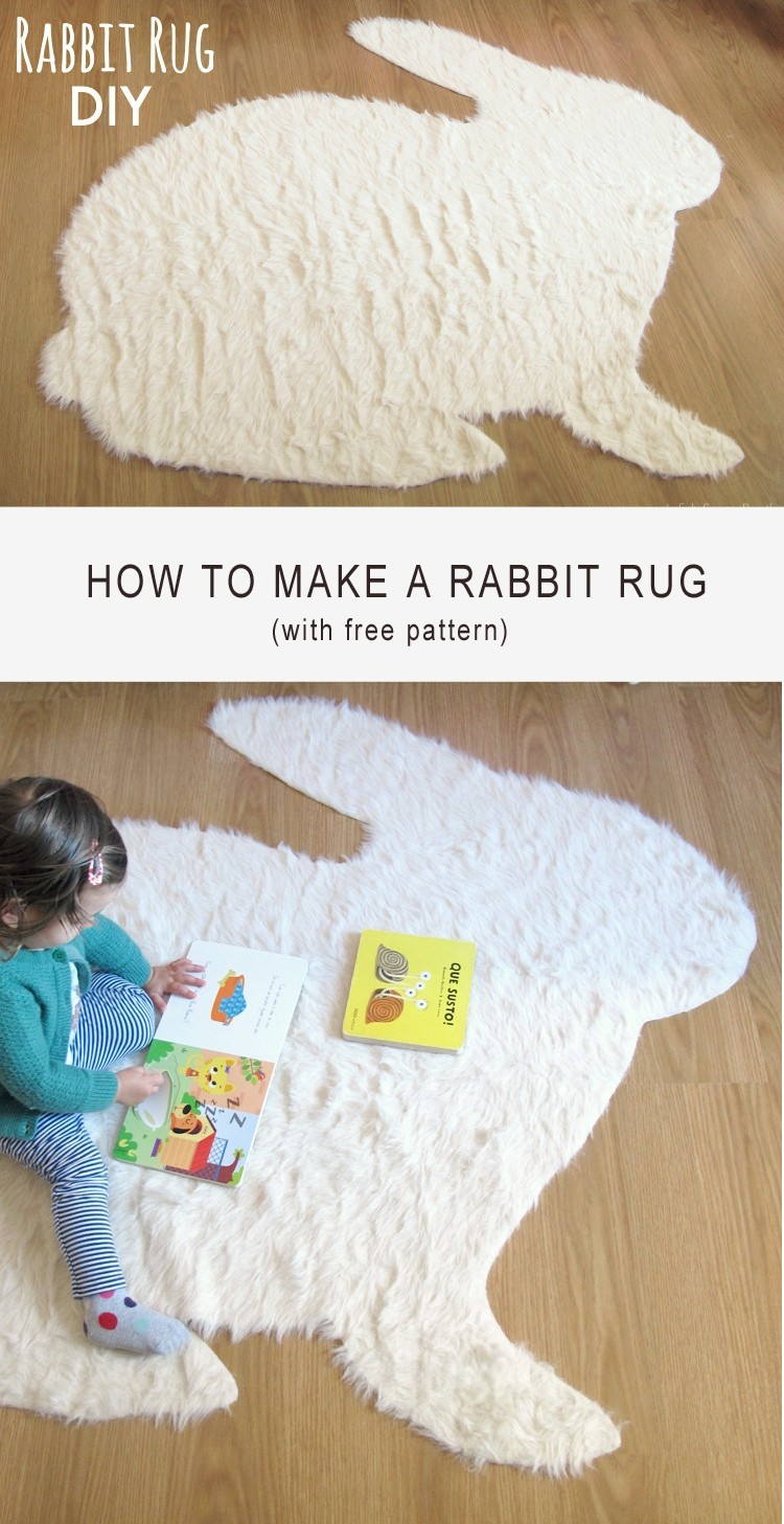 No Sew Rabbit Rug DIY
