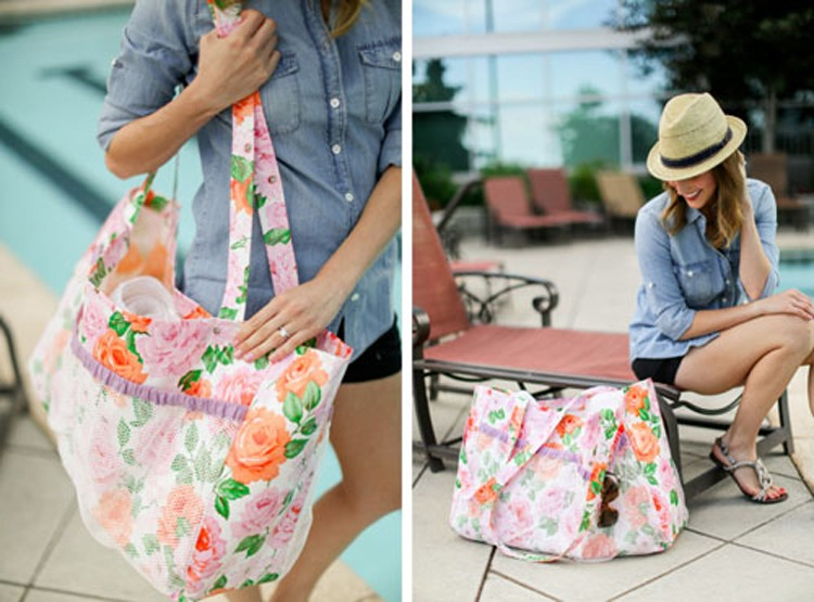 Oil Cloth Pool Tote with Mesh Pockets
