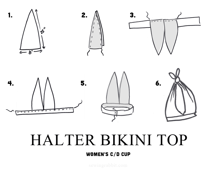 how to sew a halter top bikini