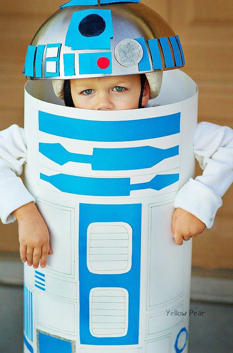 R2D2 made with a silver bowl attached to bike helmet with duct tape and poster board and contruction paper -- By Yellow Pear Blog