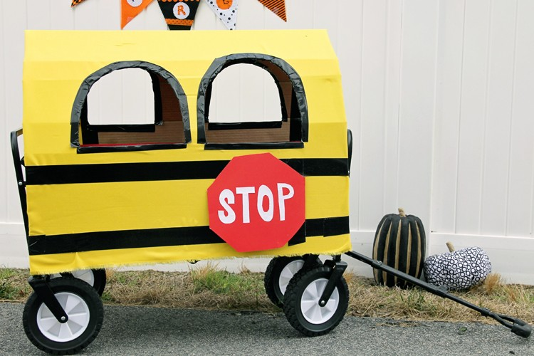 Cardboard school bus  ||  turn your wagon into a school bus this Halloween!